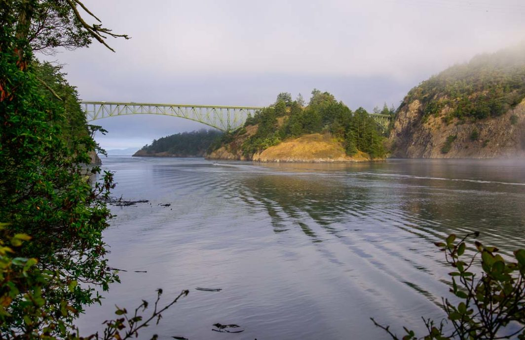 A view of the east side of Deception Pass Bridge
