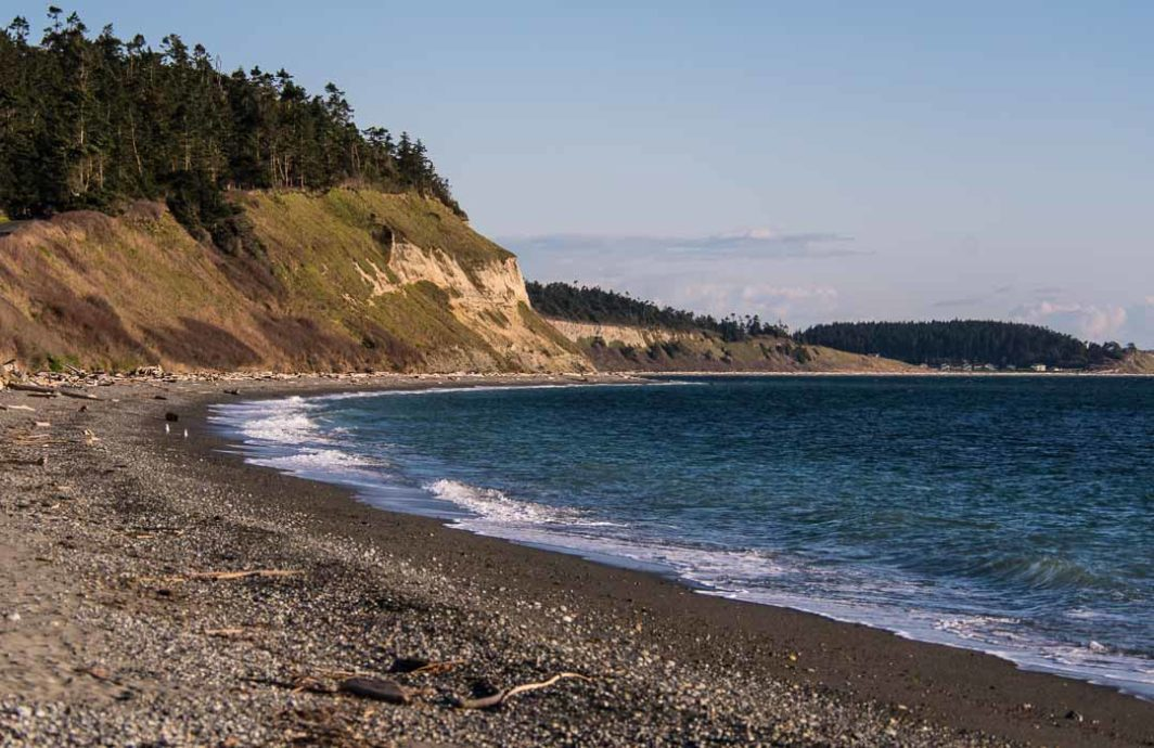 A long empty beach at Ebey's Landing