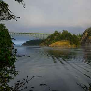 Deception Pass Bridge and the waters of Deception Pass.