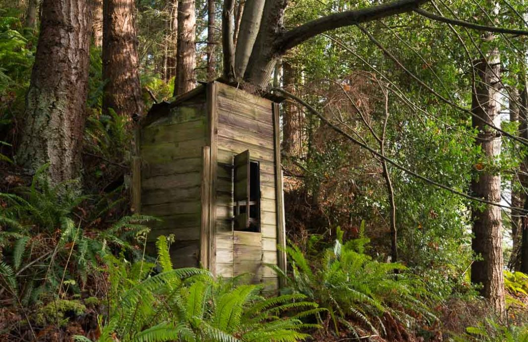 Abandoned smokehouse at Possession Point