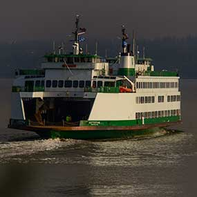 A ferry heads out for the mainland.