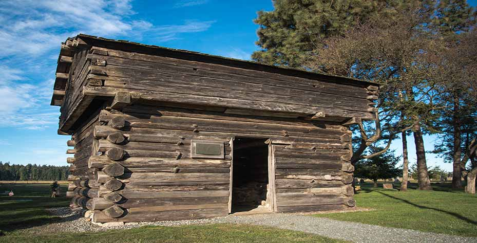 A wooden log fort built in 1855 for protection.