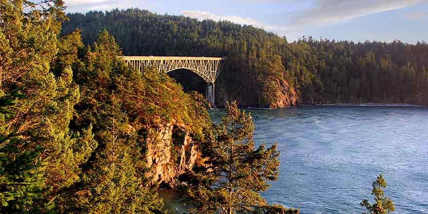 The bridge over Deception Pass connects Whidbey Island with Fidalgo Island.  It is some 17 stories above the water.