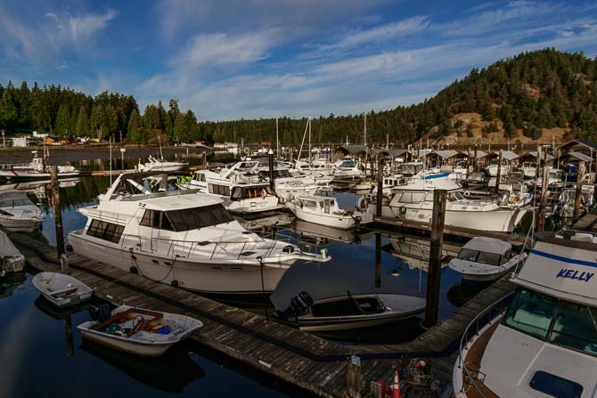 Dozens of boats anchored at Cornet Bay Marina