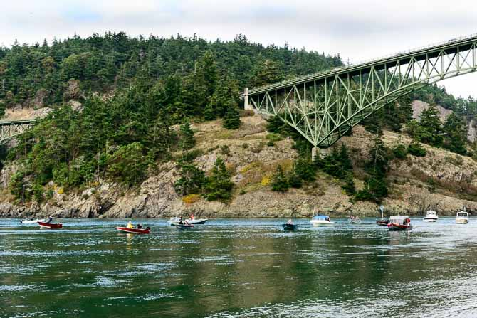 Fishing boats in Deception Pass. The view is from the water's edge.