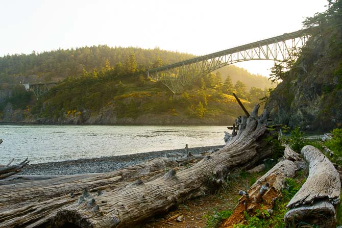 The Deception Pass Bridge as seen from water level North Beach.