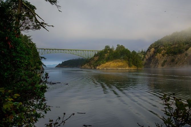 The waters of Deception Pass with the bridges in the distance.
