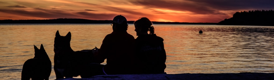 A couple and their dogs enjoy a sunset at Frank Robinson Beach on Whidbey Island.
