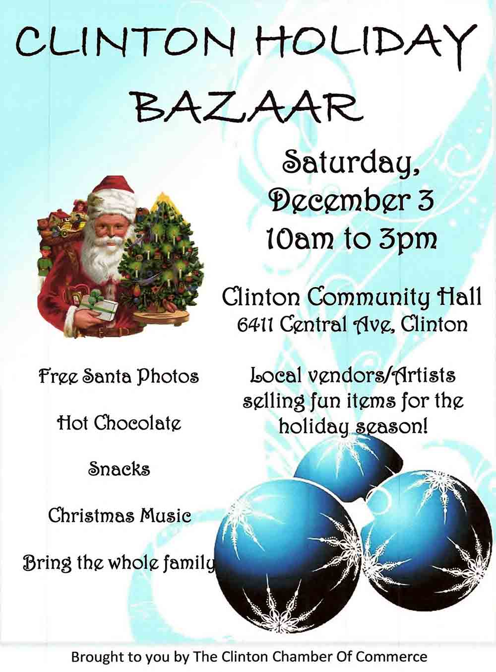 poster showing the clinton holiday bazaar location of clinton community hall on december 3 from