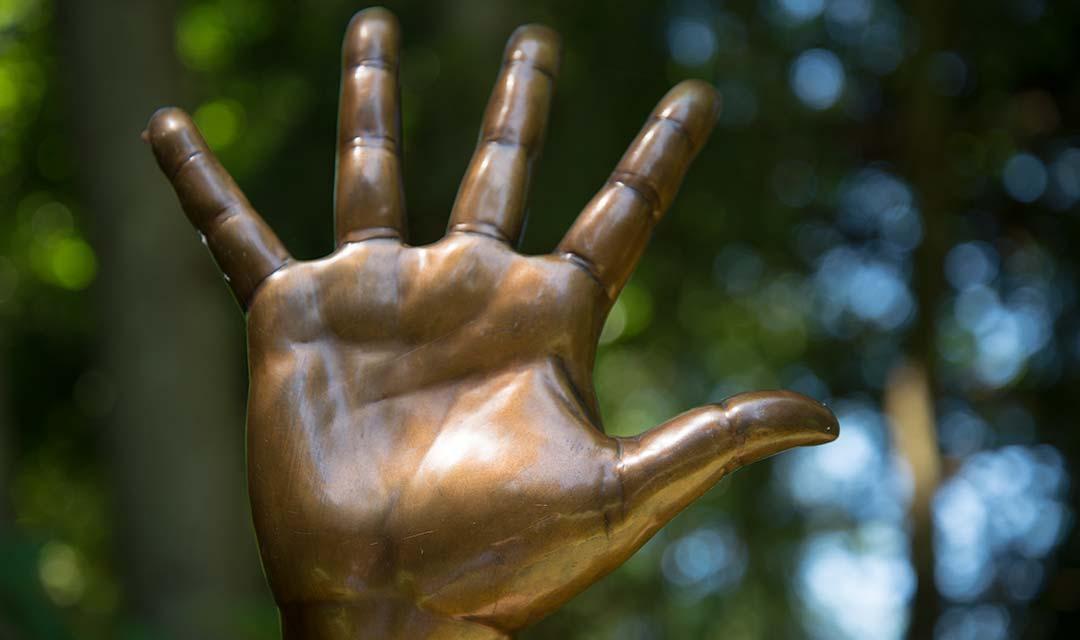 Bronze sculpture of a human hand
