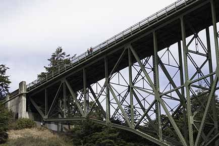 The underside of the Deception Pass Bridge showing metal girders.