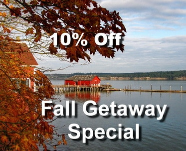 Colorful fall leaves and the Coupeville Wharf