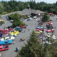 Aerial view of cars on display at the Camano Center
