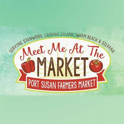 "Port Susan Farmers market Logo says ""meet Me at the Market"""