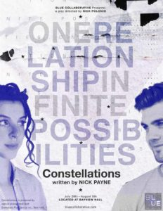 """Poster for the play showing a man and woman looking at each other and the words, """"one relationship infinite possibilities."""""""