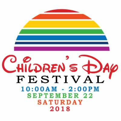 A half-circle with colorful stripes and the words Children's Day Festival