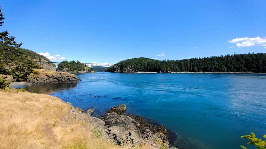 The waters of Deception Pass.  Deception Pass Bridge is in the distance.