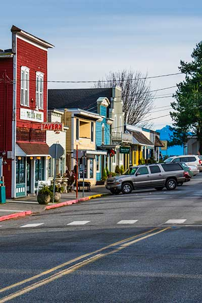 Brightly colored buildings along Langley's 1st Street