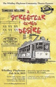 "Poster for the play ""A Streetcar Named Desire"" with the title along with the drawing of a streetcar."