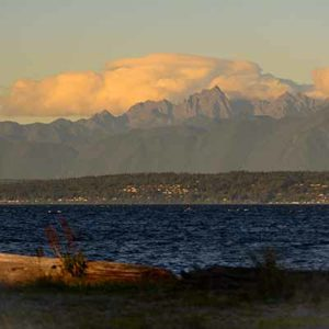 The Olympic Mountains and Admiralty Inlet on a blustery fall day.