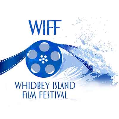 Whidbey Island Film Festival logo features a film real and a wave