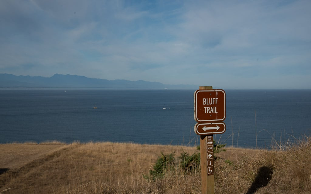 Fort Ebey State Park trail along the bluff with the ocean in the background
