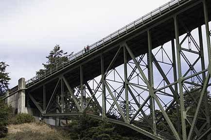 The underside of the Deception Pass Bridge showing metal girders.