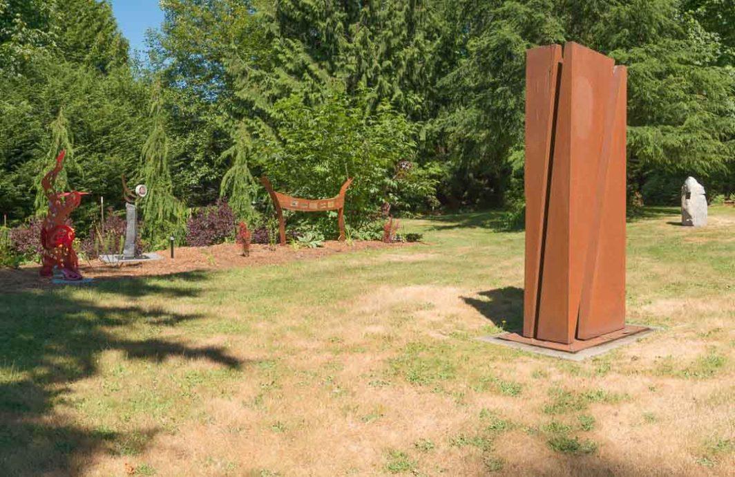 Several sculptures in the Matzke outdoor gallery