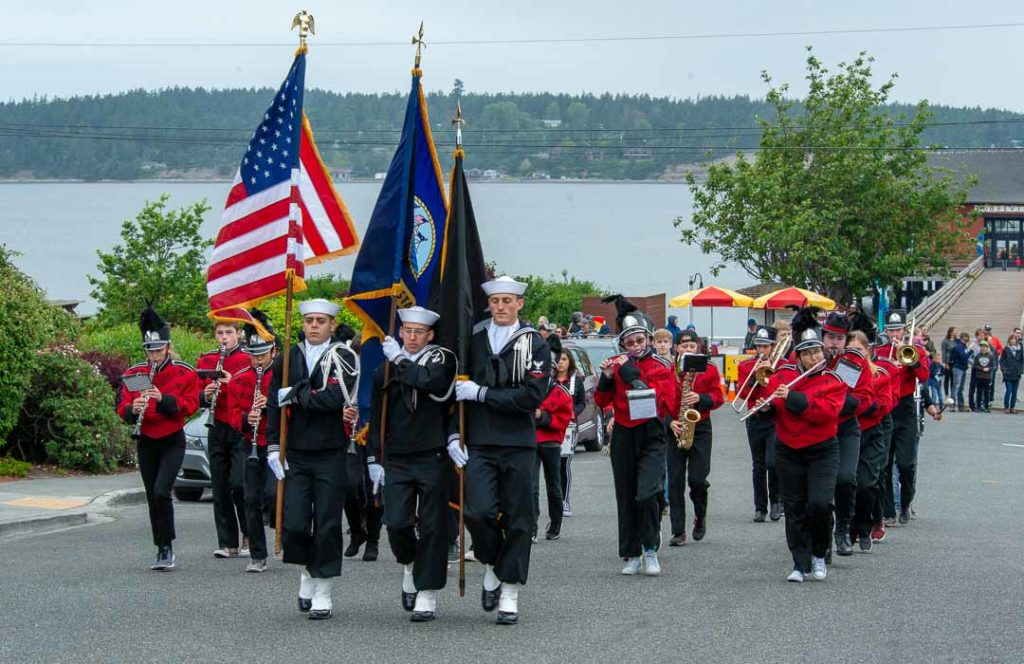 Color Guard and Coupeville High School Marching Band