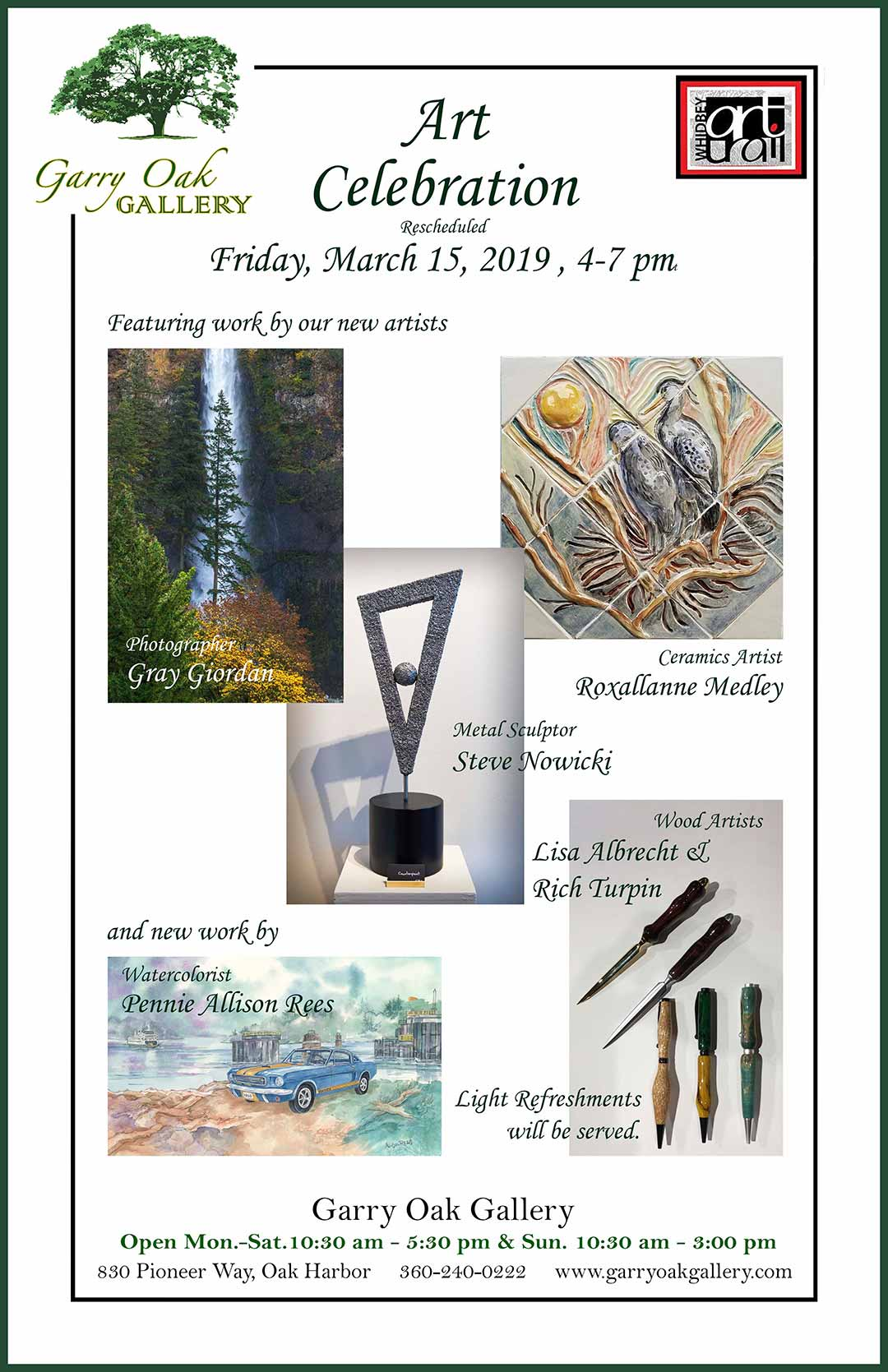 Poster showing artwork to be celebrated at the Garry Oak Gallery