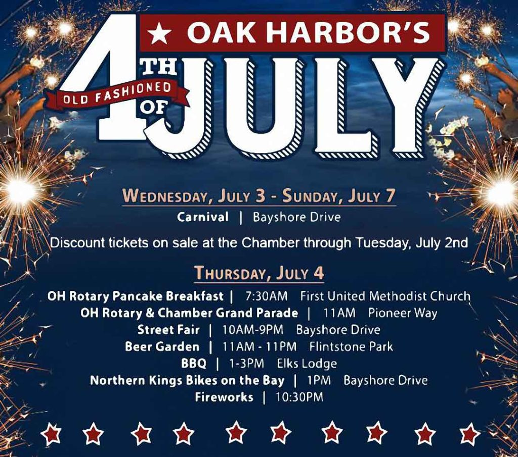 Post for the Oak Harbor Old Fashioned 4th. Shows the event times and locations, which are also on this web page.