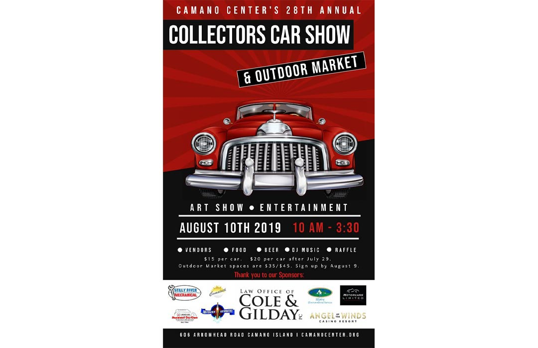 Poster detailing the Camano Center Collector Car Show events