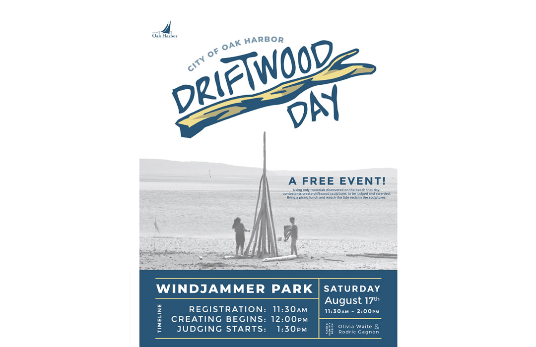Poster saying Driftwood day registration starts at 11:30 am, competition starts at Noon and judging starts at 1:30 pm