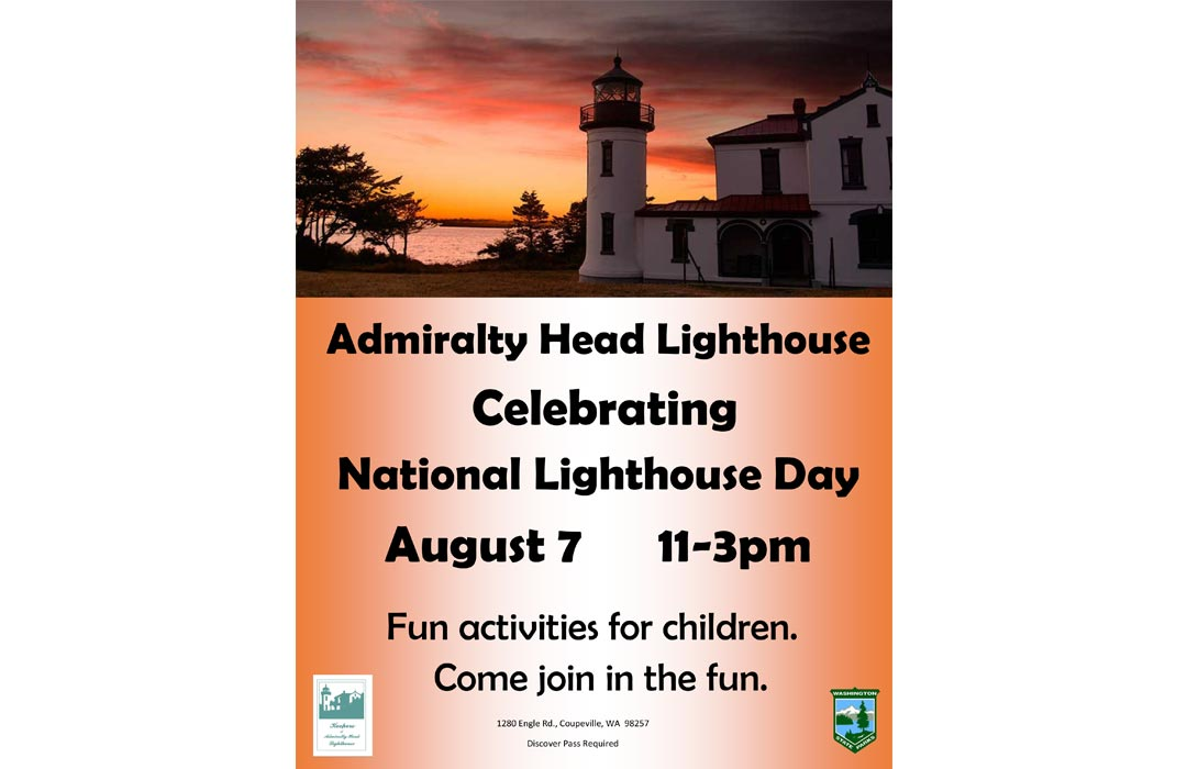 Poster for Lighthouse Day showing the sun setting behind the lighthouse