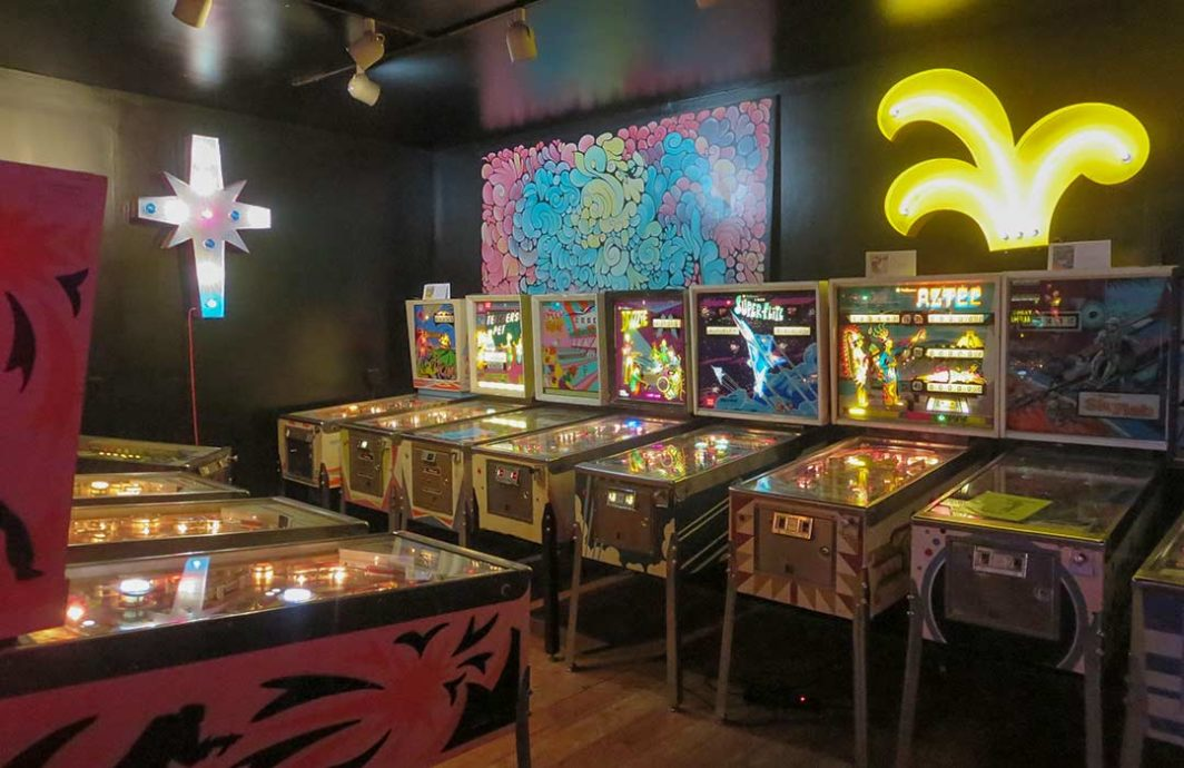 Pinball machines lines up at the Machine Shop