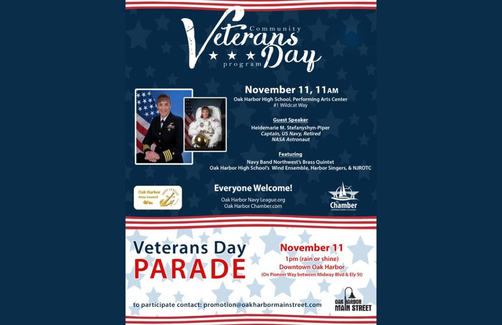 Poster for the Oak Harbor Veterans Day Program and Parade