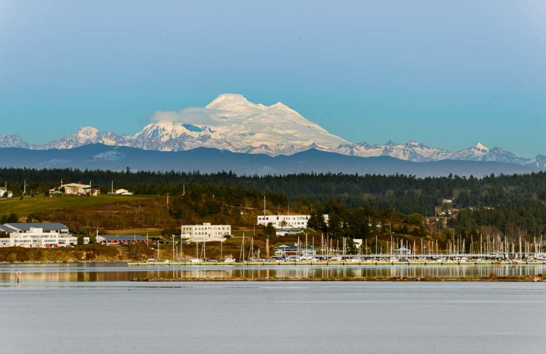 Mt. Baker looms over the marina in Oak Harbor