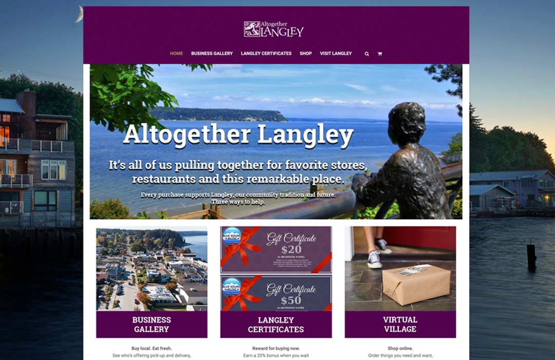 The Altogether Langley Website showing views of the town and links to online shopping