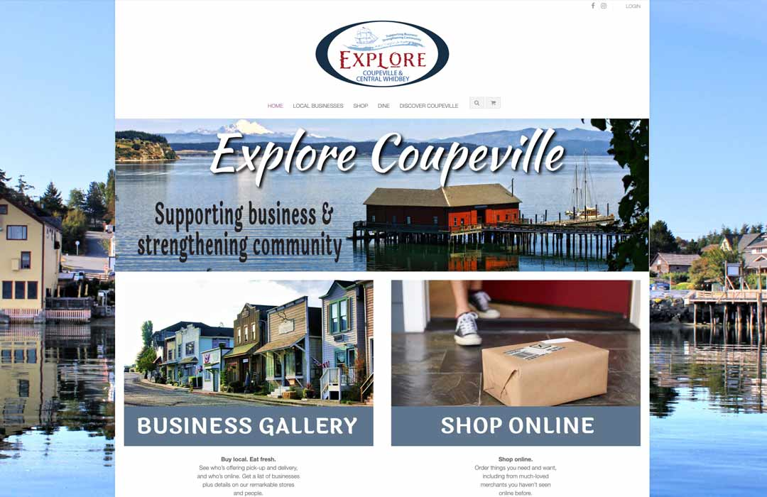 Explore Coupeville home page showing views of Coupeville and links to shopping
