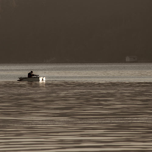 Man in a rowboat