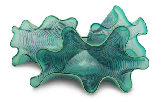 3 Clam Shell Bowls by George Springer Hellebore Glass 552x345