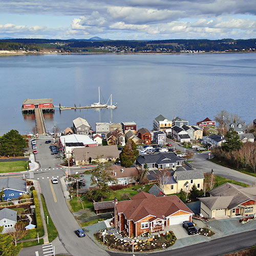 Coupeville, the Coupeville Wharf and Penn Cove from the air