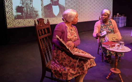 Whidbey Playhouse Sadie and Bessie sharing family photos 552x345