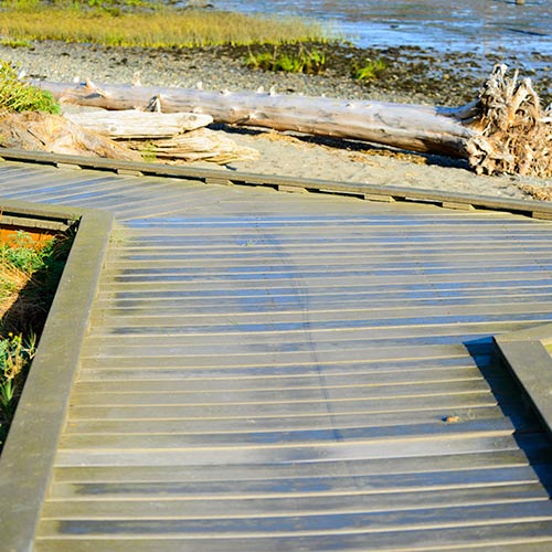 A wooden walkway designed for ADA access
